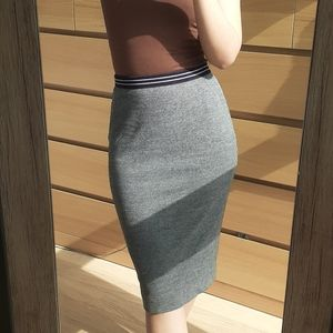 Oui Grey Fitted Stretchy Pencil Skirt Back Zip Size 4